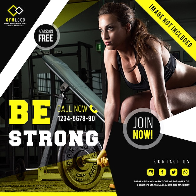 Gym fitness-bannersjabloon of instagrambericht Premium Vector