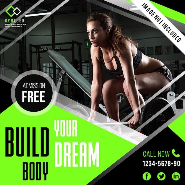 Gym fitness-bannersjabloon of instagrambericht Premium Vector