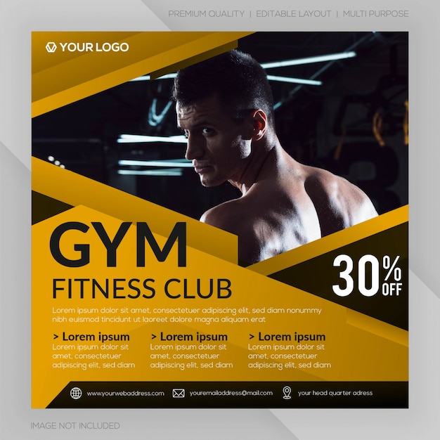 Gym fitness club vierkante banner sjabloon of instagram post reclame Premium Vector