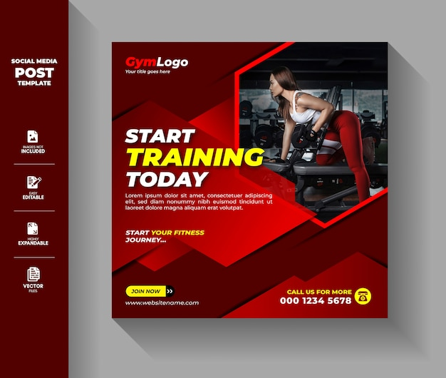 Gym fitness oefening workout training social media post-sjabloon Premium Vector