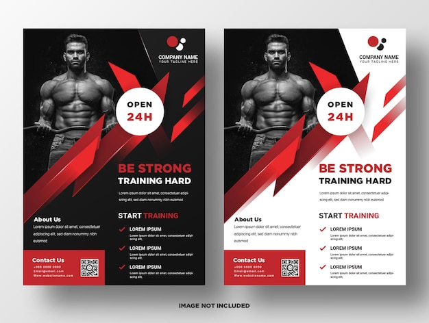 Gym fitness promotie sjabloon folder Premium Vector