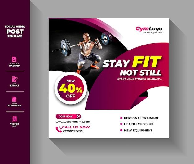 Gym fitness social media post-sjabloon Premium Vector