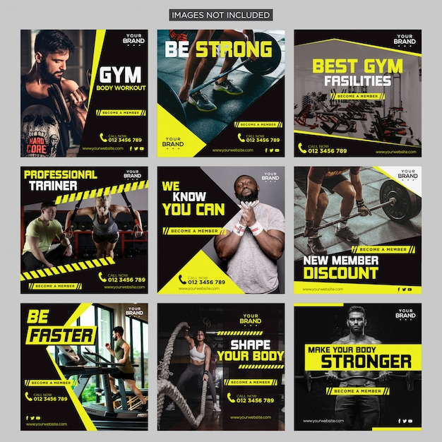 Gym fitness sociale media bericht Premium Vector