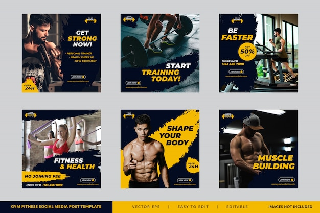 Gym fitness vierkante banner sjabloon set Premium Vector