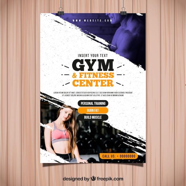 Gym folder sjabloon met afbeelding Gratis Vector