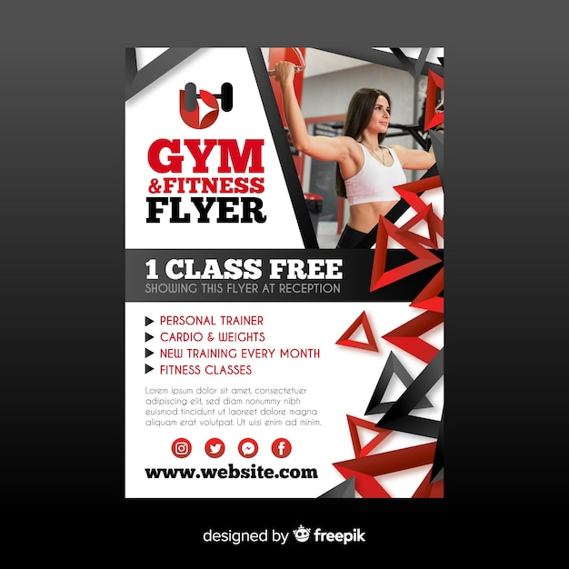 Gym folder sjabloon Gratis Vector