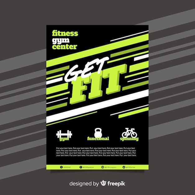 Gym folder sjabloon Gratis Vector