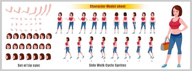 Gym girl character-modelblad met loopcyclusanimaties en lipsynchronisatie Premium Vector