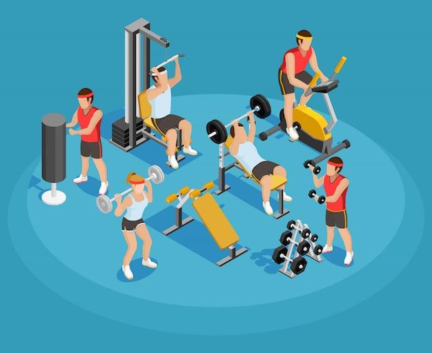 Gym isometrische sjabloon Gratis Vector