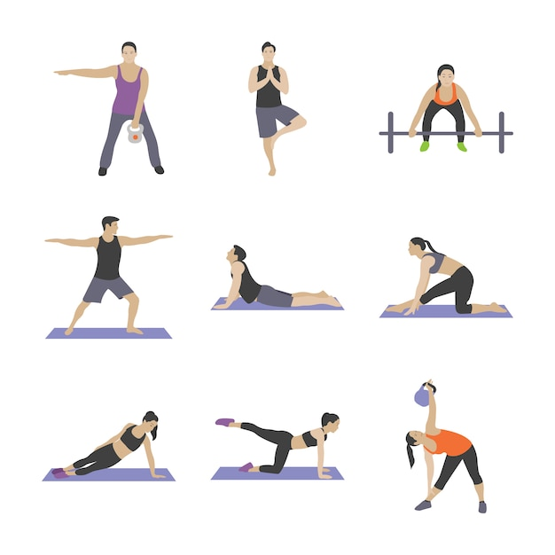 Gym oefeningen plat pictogrammen Premium Vector