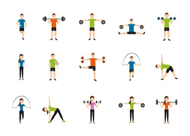Gym pictogram set pack Gratis Vector