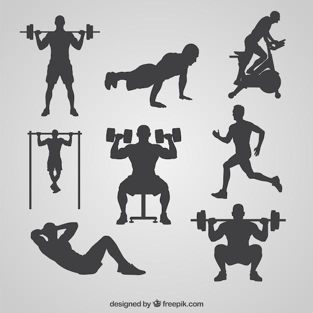 Gym silhouetten collectie Gratis Vector