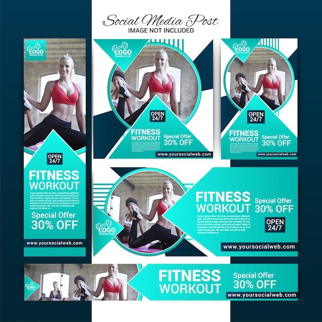 Gym social media banners instellen Premium Vector