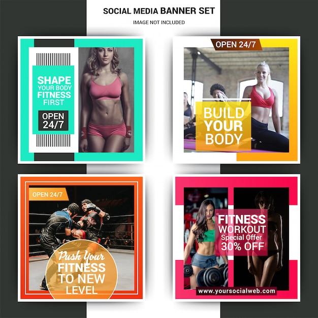Gym social media marketing-set Premium Vector