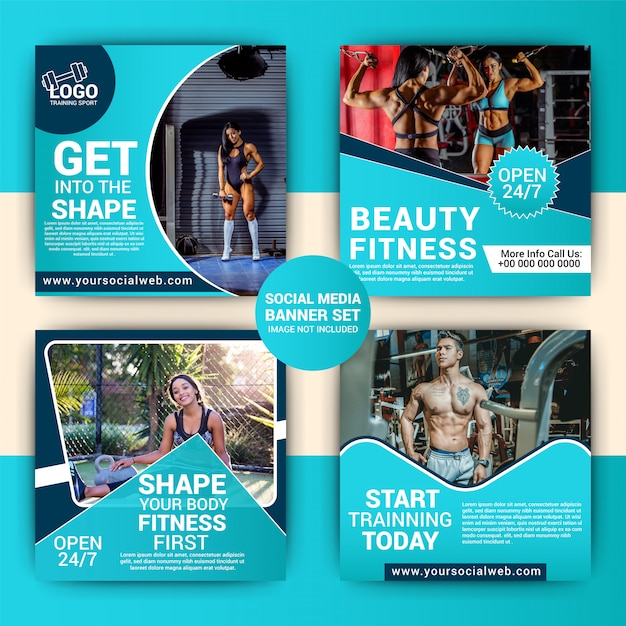 Gym social media marketing-set Premium Vector