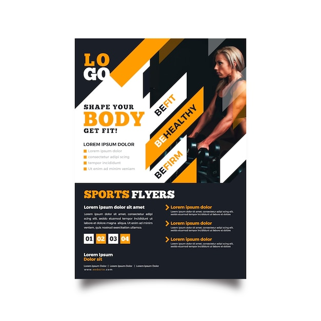Gym sport folder sjabloon Gratis Vector