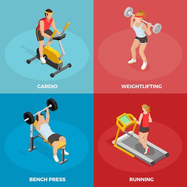 Gym sport isometrische concept Gratis Vector