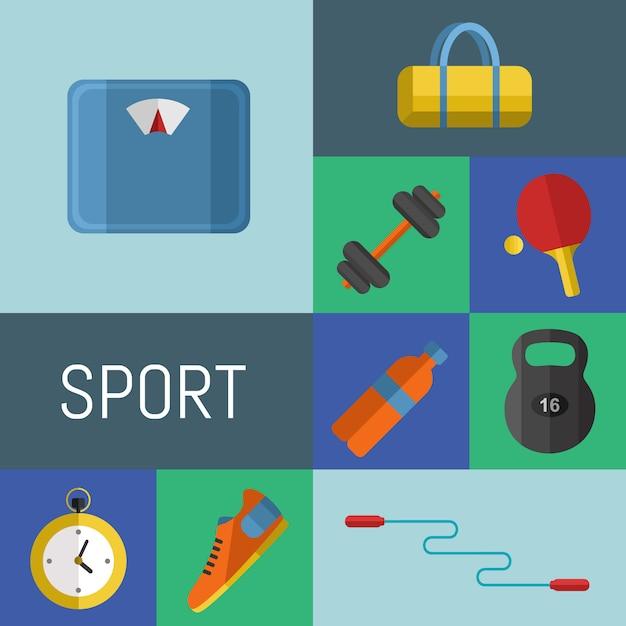 Gym sportartikelen Premium Vector