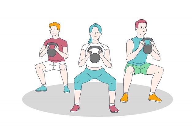 Gym training, training en gewichtheffen oefening, lichamelijke activiteit en een gezonde levensstijl concept Premium Vector