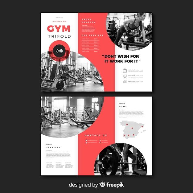 Gym trifold brochure sjabloon Gratis Vector