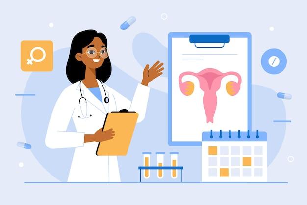 Gynaecologie check-up illustratie Gratis Vector