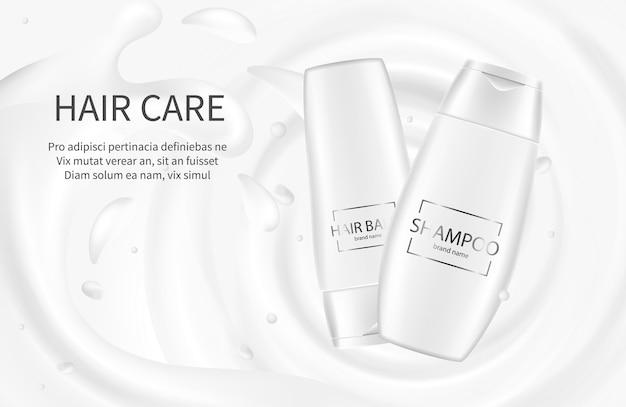 Haar cosmetica banner. shampoo promotionele illustratie. crème balsem lotion met melk splash. cosmetisch pakket shampoo voor verzorgend haar Premium Vector