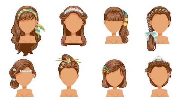 Haaraccessoires, haarspeld, kroon, haarspeld, kapsel, mooi kapsel. moderne mode voor assortiment. lang, kort krullend salon trendy kapsel. Premium Vector
