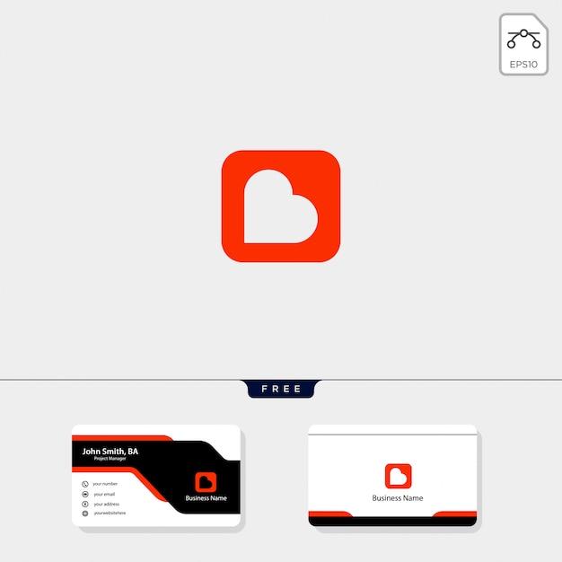 Haardvuur logo sjabloon, krijg gratis visitekaartje ontwerp Premium Vector