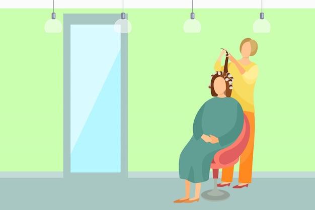 Haarstyling poster vrouwenzitting en kapper Premium Vector