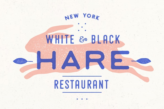 Haas, konijn. vintage logo, retro print, poster voor slagerij Premium Vector