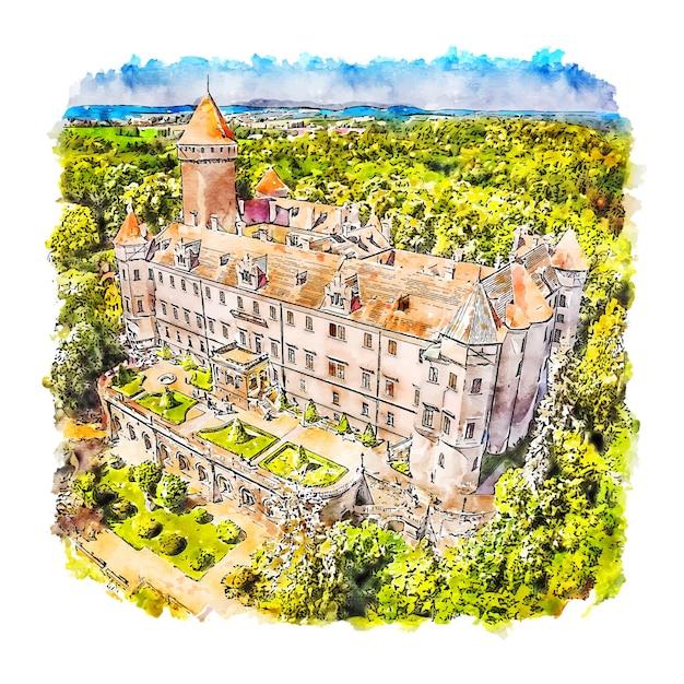 Habsburgs kasteel tsjechië aquarel schets hand getrokken illustratie Premium Vector