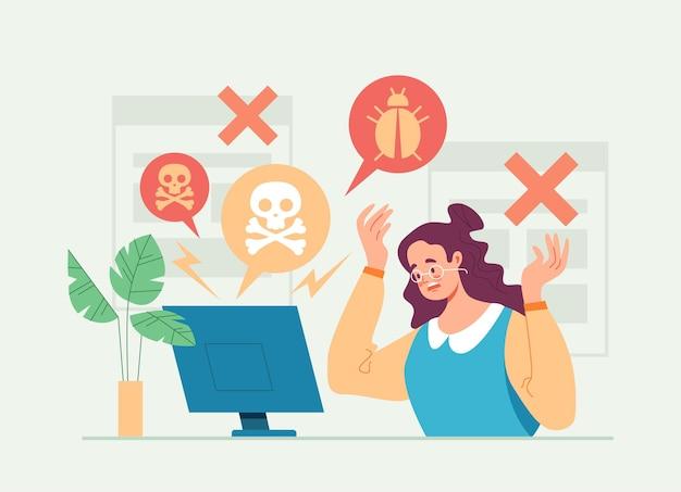 Hacker aanval computer met virus platte cartoon afbeelding Premium Vector