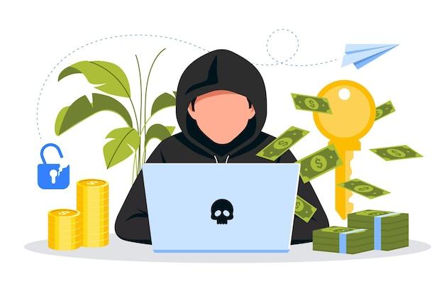 Hacker activiteit concept Premium Vector