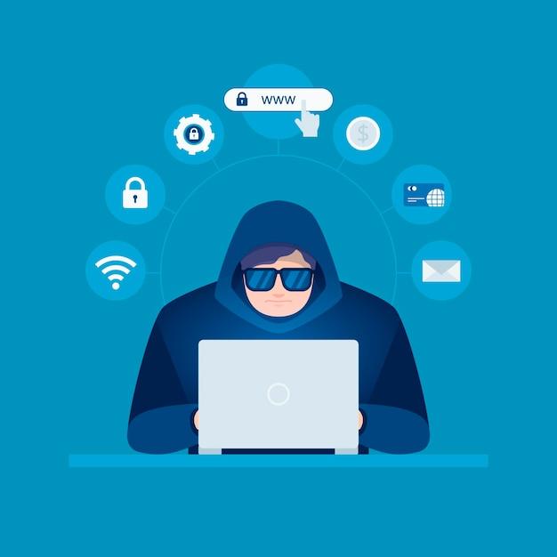 Hacker activiteit concept Gratis Vector