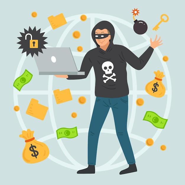 Hacker-activiteit met man stelen Gratis Vector