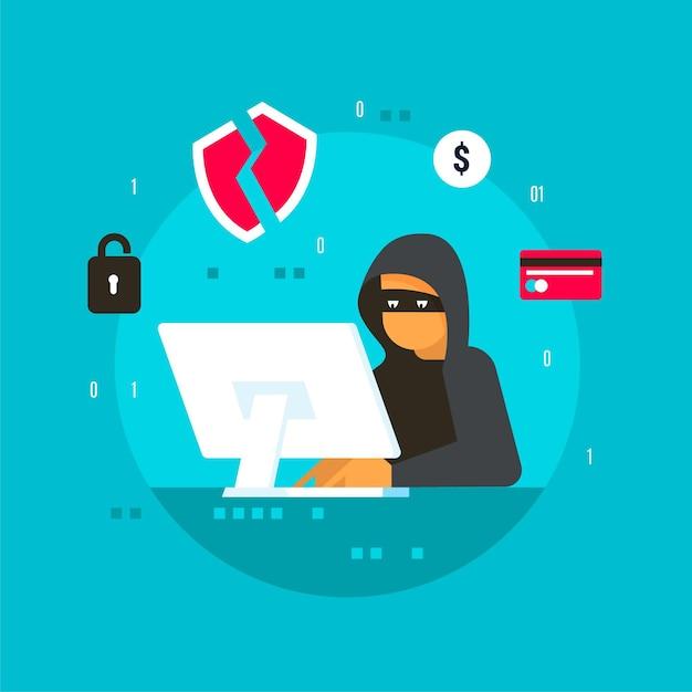 Hacker-activiteit zoeken en stelen van informatie Gratis Vector