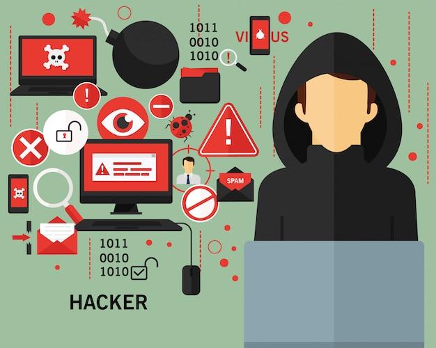 Hacker concept achtergrond Premium Vector