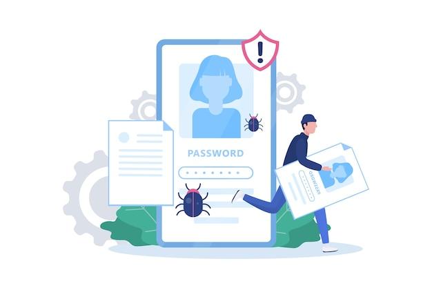 Hacker concept. dief valt mobiele telefoon aan, steelt persoonlijke gegevens Premium Vector