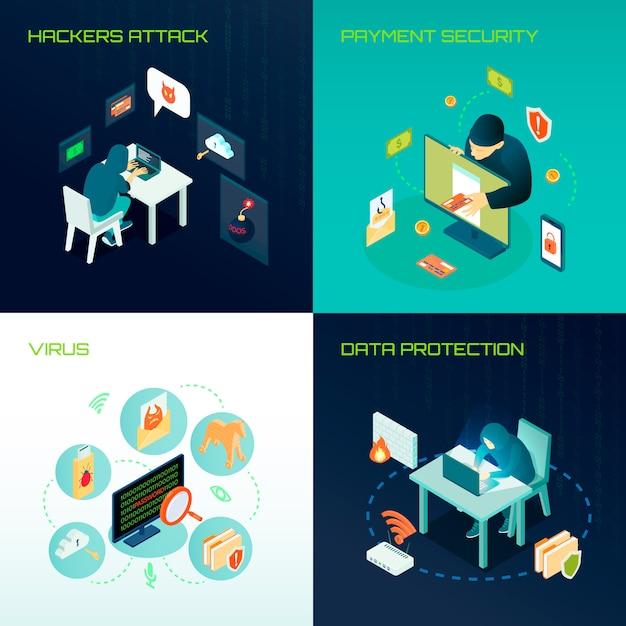 Hacker isometrisch ontwerpconcept Gratis Vector