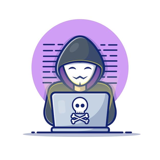 Hacker met een laptop-pictogram. hacker en laptop. hacker en technologie pictogram wit geïsoleerd Premium Vector