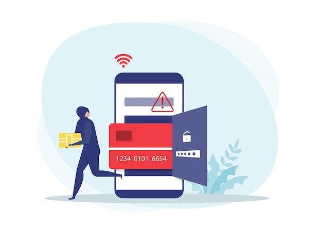 Hacker of criminele dief in zwart stelen slim schip van debet- of creditcard op slimme telefoongegevens of persoonlijk identiteitsconcept, Premium Vector
