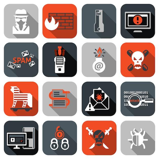 Hacker pictogrammen instellen plat Premium Vector
