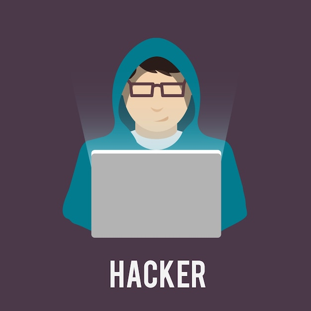 Hacker pictogrammen plat Gratis Vector