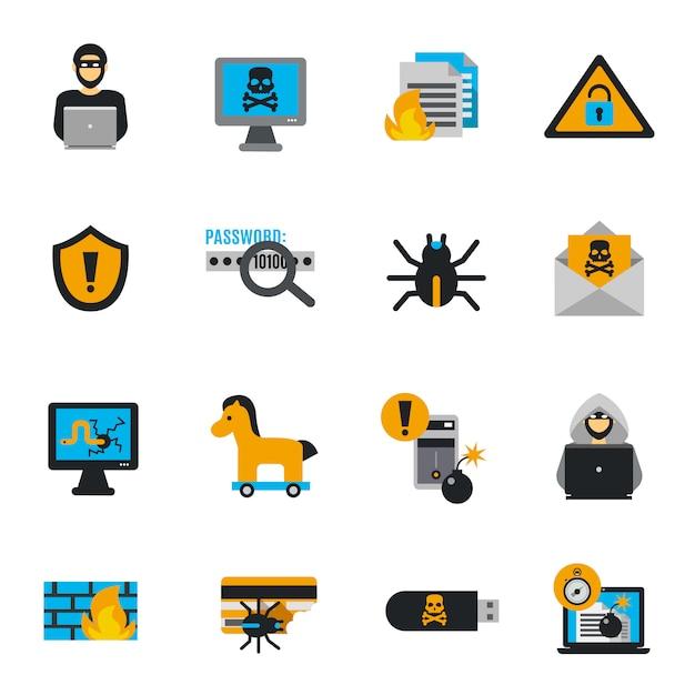 Hacker pictogrammen platte set Gratis Vector