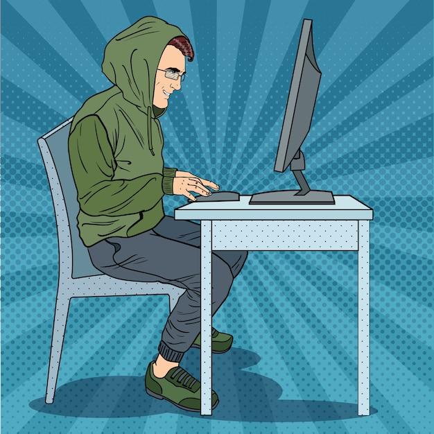 Hacker steelt informatie op computer Premium Vector