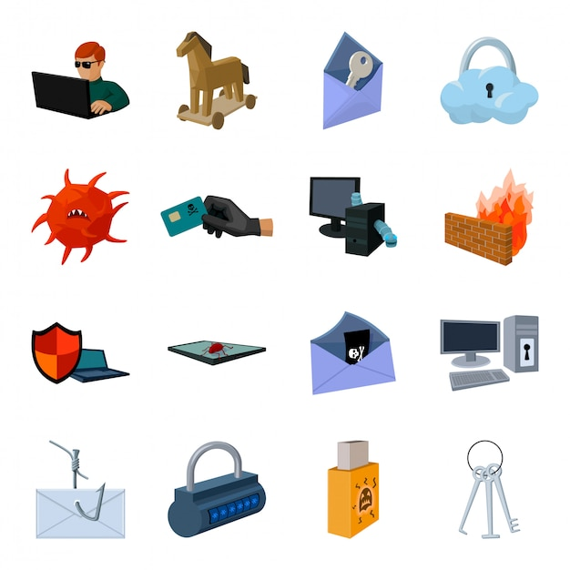 Hacker van cyber cartoon ingesteld pictogram. illustratie cyberbescherming. geïsoleerde cartoon set pictogram hacker fraude. Premium Vector