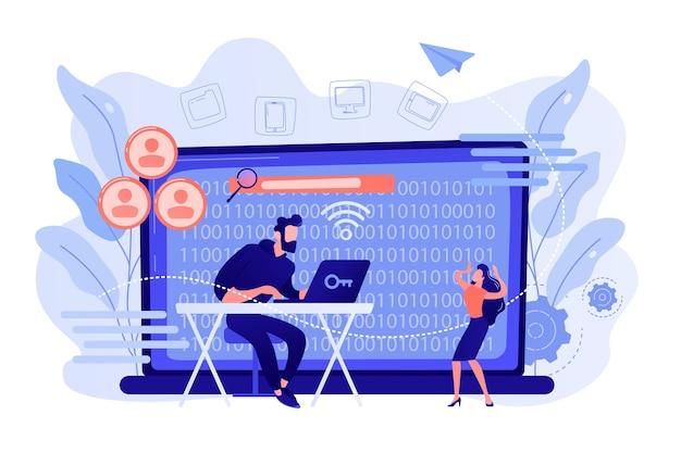 Hacker verzamelt gevoelige gegevens van doelgroepen en maakt deze openbaar. doxing, online informatie verzamelen, hacking exploit resultaat concept. roze koraal bluevector geïsoleerde illustratie Gratis Vector
