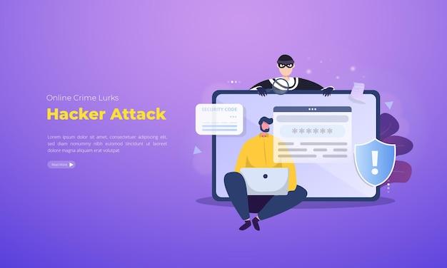 Hackeraanval voor het concept van cybercriminaliteit Premium Vector
