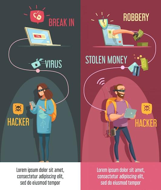 Hackers criminele activiteit banners set met man en vrouw brekende computerrekeningen Gratis Vector