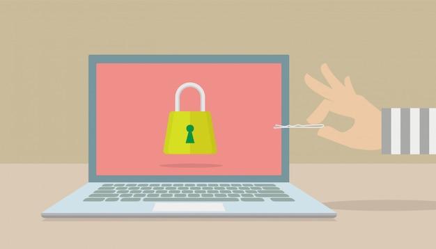 Hackers proberen de veiligheid van uw computer te doorbreken. Premium Vector